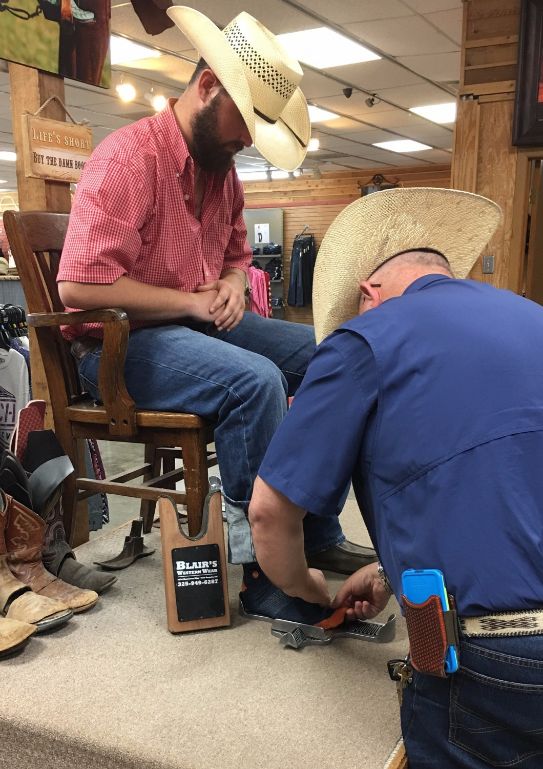 Try on top-brand boots at Blair's Western Wear